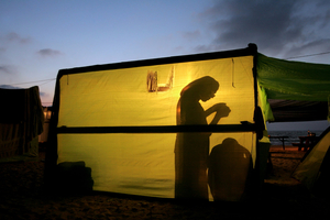 Shirat Hayam, Jul 05 - Jewish settler during evening prayer in her hut © Natan Dvir