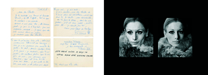 Left: Letter from Victoire. Right: Victoire, 1968. From the photobook Les amies de place Blanche, Aman Iman Éditions. © Christer Strömholm.
