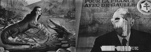 "Left: ""La femme crocodile,"" Fête foraine, 1954-55. Right: Campaign poster, 1958. From the photobook Les amies de place Blanche, Aman Iman Éditions. © Christer Strömholm."