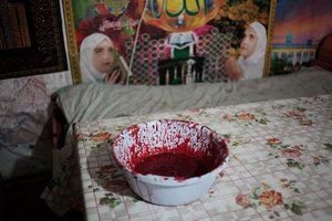 Basin with sheep's blood. From the series Apashka by © Pavel Prokopchik