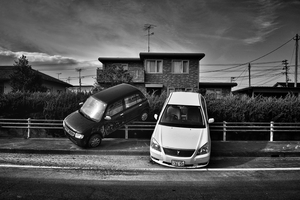 "Cars parked by the Tsunami, from the series Fukushima ""No Go"" Zone, © Pierpaolo Mittica."