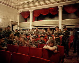UNRECOGNIZED REPUBLIC OF NAGORNO-KARABAKH / Stepanakert / 13.09.2011. Soldiers of a nearby barracks applauding the play 'We and our Mountains' in the State Dramatic Theater 'Wagrama Papasian'. The play deals with the Nagorno-Karabakh war and takes place on the occasion of the recent celebrations for the 20th Independence Day.