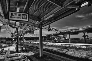 "Train station devastated by the Tsunami, from the series Fukushima ""No Go"" Zone, © Pierpaolo Mittica."