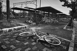 "Bicycle parking train station, from the series Fukushima ""No Go"" Zone, © Pierpaolo Mittica."