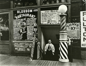Berenice Abbott, Blossom Restaurant, 103 Bowery, New York City, October 24, 1935 Gelatin silver print, 19 x 24.5 cm Museum of the City of New York. Gift of the Metropolitan Museum of Art © Berenice Abbott / Commerce Graphics Ltd, Inc.