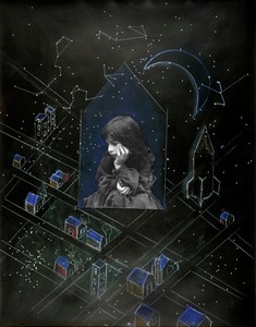 Julia and the Window of Vulnerability, (II) 1983 [black background, missile and stars] © Joanne Leonard. Collection of Joe and Wanda Corn