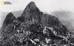 An elevated view of about half of Machu Picchu, the lost mountaintop city of the Inca in the Peruvian Andes. National Geographic supported Bingham's excavations at the site from 1912 to 1915. From the October 125th anniversary issue of National Geographic magazine © Hiram Bingham/National Geographic