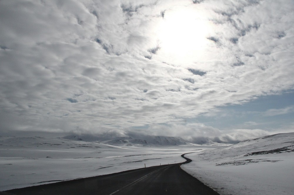 The Ring Road snakes and turns through Iceland's snowy north. © Kerrin Sheldon and the Humanity travel app