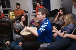 Adrien on Drums with Band, from Teen Tribe © Martine Fougeron