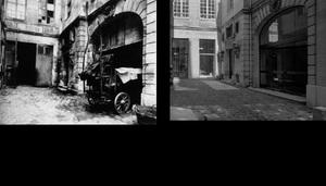 Ancienne maison de la maîtrise de Saint-Eustache, 25 rue du Jour, 1902, © Eugene Atget. Ancienne maison de la maîtrise de Saint-Eustache, 25 rue du Jour, 1997, © Christopher Rauschenberg.