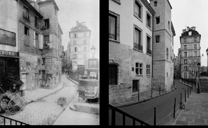 Rue des Ursins, 1900, © Eugene Atget. Rue des Ursins, 1998, © Christopher Rauschenberg.