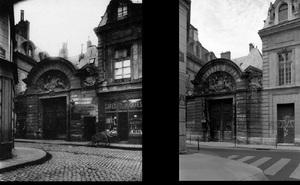 Hôtel des Ambassadeurs de Hollande, 47 rue Vieille-du-Temple, 1898, © Eugene Atget. Hôtel des Ambassadeurs de Hollande,  47 rue Vieille-du-Temple, 1997, © Christopher Rauschenberg.