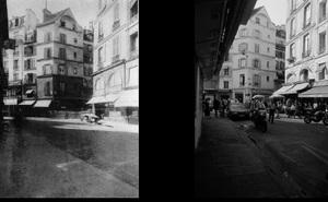 Angle de la rue de Seine et de la rue de Buci, vers 1900, © Eugene Atget. Angle de la rue de Seine et de la rue de Buci, 1997, © Christopher Rauschenberg.