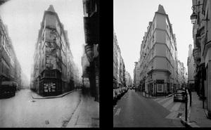 Angle de la rue de Seine et de la rue de l'Échaudé, © Eugene Atget. Angle de la rue de Seine et de la rue de l'Échaudé, 1997, © Christopher Rauschenberg.