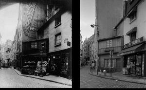 Rue Galande, 1899, © Eugene Atget. Rue Galande, 1998, © Christopher Rauschenberg.