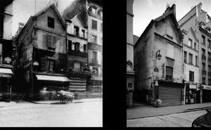 Coin de passage Basfour, 176 rue Saint-Denis, 1907, © Eugene Atget. Coin de passage Basfour, 176 rue Saint-Denis, 1998, © Christopher Rauschenberg.