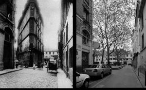 Coin de la rue Saint-Spire et de la rue Sainte-Foy,  appelé à disparaître dans le prolongement de la rue Dussoubs, 1907, © Eugene Atget. Coin de la rue Saint-Spire et de la rue Sainte-Foy, 1998, © Christopher Rauschenberg.