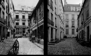 15 rue Tiquetonne, cour, 1907, © Eugene Atget. 15 rue Tiquetonne, cour, 1998, © Christopher Rauschenberg.