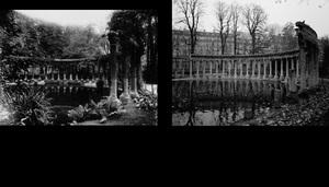 La naumachie du parc Monceau, 1911, © Eugene Atget. La naumachie du parc Monceau, 1998, © Christopher Rauschenberg.