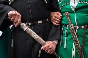Men in the traditional Abkhazian dress. Sukhum, Abkhazia. © Olga Ingurazova