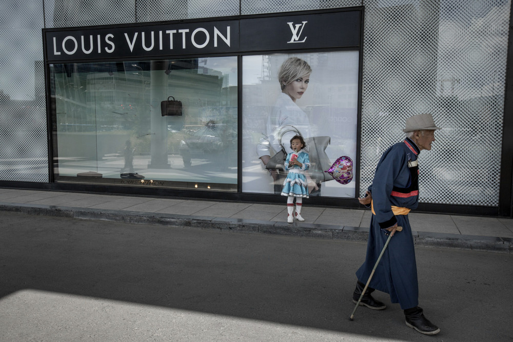 At the city's central Genghis Khan Square Mongolia's first Louis Vuitton boutique. Ulaanbaatar.