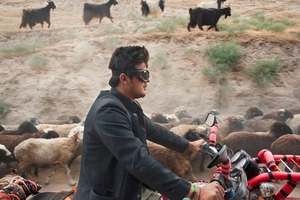 © Iva Zimova. A man rides a motorbike next to a herd of sheep and goats.
