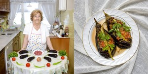 Turkey © Gabriele Galimberti Ayten Okgu , 76 years old -?? Istanbul, Turkey Karniyarik (stuffed aubergines with meat and vegetables)