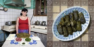Jenya Shalikashuili, 58 years old  Alaverdi, Armenia. Tolma (roll of beef and rice wrapped into grape leaves) © Gabriele Galimberti