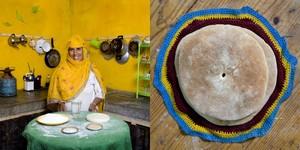 Fatma Bahkach, 59 years old, Aghrimz, Morocco. Bat Bot (Berber bread baked in a pan) © Gabriele Galimberti