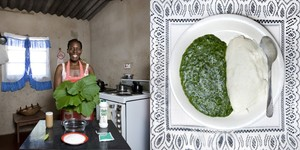 Zimbabwe © Gabriele Galimberti Flatar Ncube, 52 years old  Victoria Falls, Zimbabwe Sadza (white maize flour) and pumpkin leaves cooked in peanut butter