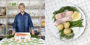 Brigitta Fransson, 70 years old  Stockholm, Sweden. Inkokt Lax (poached cold salmon and vegetables) © Gabriele Galimberti