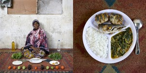 Miraji Mussa Kheir, 56 years old - Bububu, Zanzibar. Wali, mchuzina mbogamboga (rice, fish and vegetables in green mango sauce) © Gabriele Galimberti
