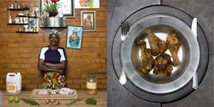 Joyce Muape, 49 years old  Kalulushi, Zambia. Inkoko Nama Spices (Roasted spiced chicken) © Gabriele Galimberti.
