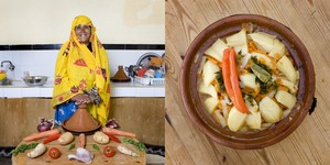 Eija Bankach, 62 years old, Massa, Morocco. Chicken Tajine © Gabriele Galimberti
