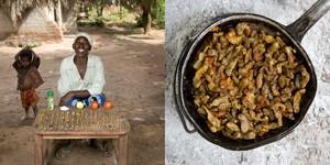 Regina Lifumbo, 53 years old   Mchinji, Malawi. Finkubala (Caterpillar in tomato sauce) © Gabriele Galimberti