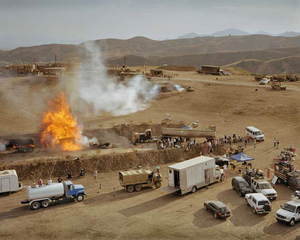 A controlled explosion of an American fuel convoy in Iraq being filmed on the set of ?Over There?, a Fox TV production about the life of a US Army platoon in contemporary Iraq. Being filmed in Chatsworth, just north of Los Angeles. © Simon Norfolk