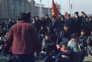 November 1966. In front of the railway station in Pekin, which is occupied day and night. This was during the time when many young people were traveling between the capital and the provinces. © Solange Brand