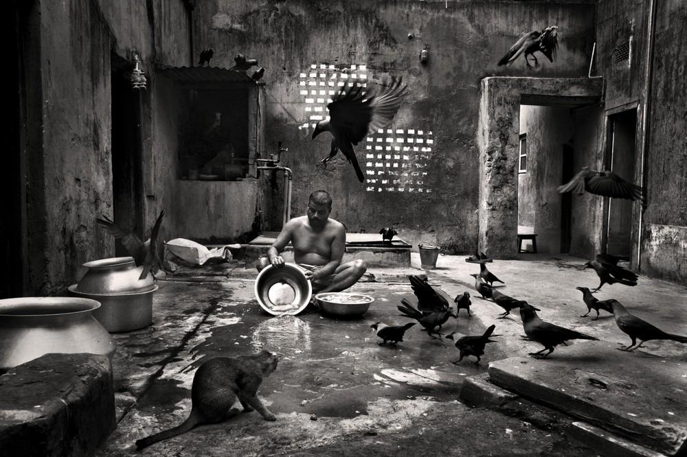 "Bimol Da preparing fish for cooking at Beauty Boarding, Shirish Das Lane, 2011. From the series ""Belonging"" © Munem Wasif"