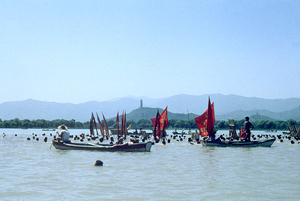 July 1967. Lake at the Summer Palace. First anniversary of Mao Zedong's swim across the Yangtze River. © Solange Brand