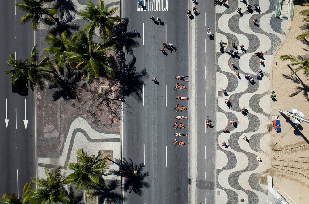 Bike sharing near Copacabana beach.