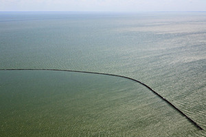 "Dike for future polder IJsselmeer, inner sea (Zuyder Sea). From the book ""The Low Land"" © Siebe Swart"
