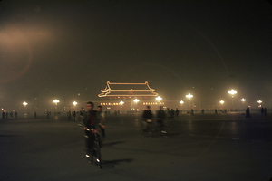 Eve of October 1, 1966. Tian'anmen Square illuminated for the National Holiday. © Solange Brand