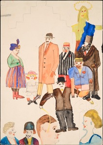 Group with Chaplin, Early 1920's. Gouache and pencil on paper. Collection Henry Blumenfeld © The Estate of Erwin Blumenfeld