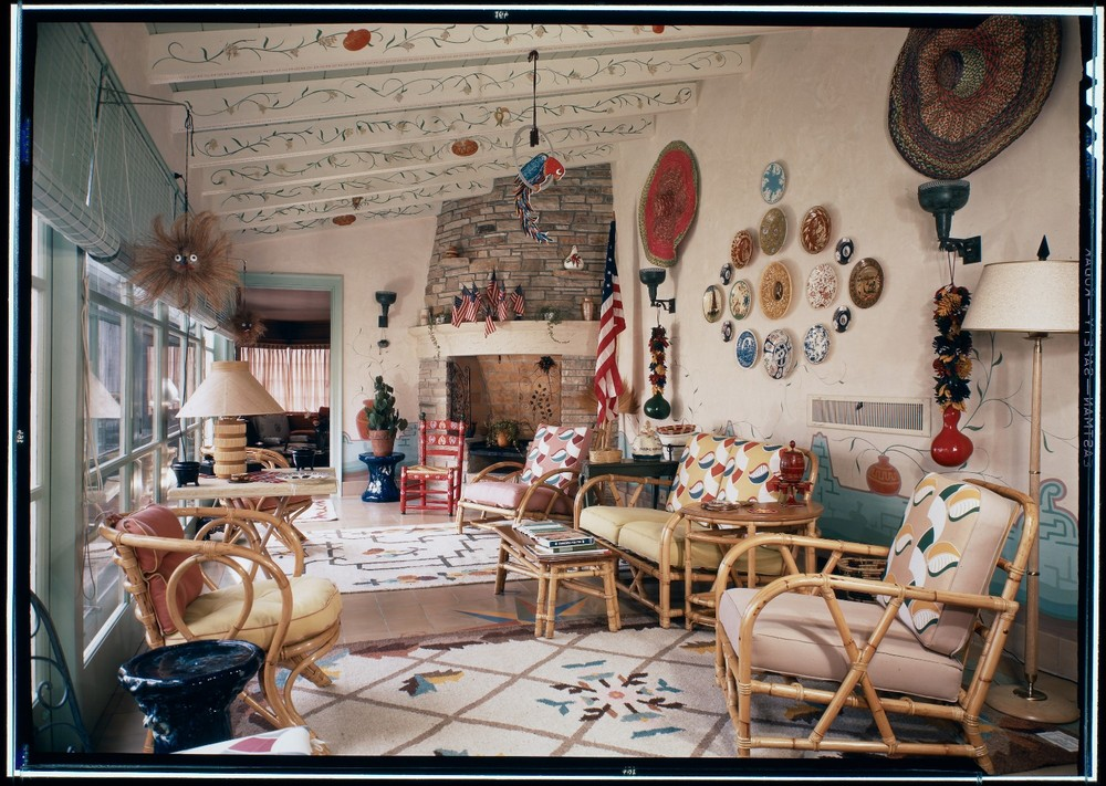 "Sunroom, Argyle Campbell residence, San Clemente, CA, c. 1943. From the photobook ""Modern Photography and the American Dream"" © Maynard Parker"