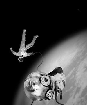 Sputnik series, Ivan and Kloka in their historical E.V.A., 1997, C-print, 100 x 70 cm © Joan Fontcuberta