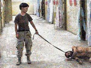 Abu Ghraib, 2005, Private Lynndie England humiliating a prisoner in the Abu Ghraib detention center in Baghdad. The photograph has been refashioned using photomosaic freeware, linked to Google's Image Search function. The names of individuals and positions mentioned in the Final Report of the Independent Panel to Review DoD Detention Operation (AKA the Schlesinger Panel)  © Joan Fontcuberta