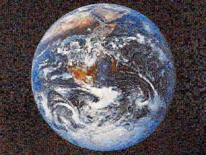 The Earth, 2005, The Earth taken from Apolo 17 in December 1972 (NASA catalogue, AS17-148-22727). The photograph has been refashioned using photomosaic freeware, linked to Google's Image Search function.  The final result is a composite of 10,000 images available on the Internet that responded to the words heaven, purgatory and hell in English, French and Spanish as search criteria.