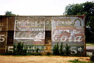 Wall of Building with 5 Cent Signs, Demopolis, Alabama, 1976
