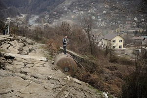 In Baranovka village landslip occured. The local citizen look on the damage after the landslip. 35 families had to leave their houses temporarily.