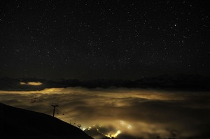 A night view of the Caucasus Mountains and Mzymta valley.
